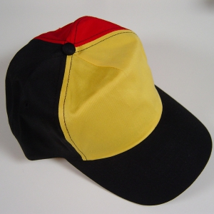 P1390BE tricolor -  Cotton cap 5-pannel in Belgische driekleur