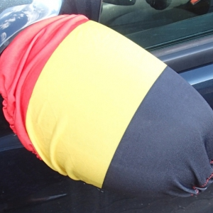 Car mirror socks in Belgium tricolor