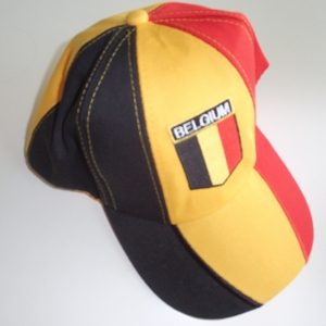 Baseball cap tricolor, with embroided Brlgium flag